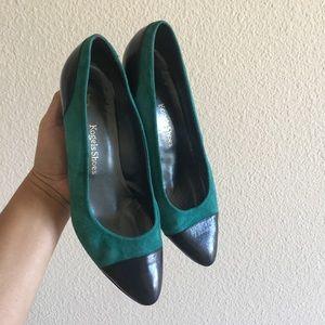 Vintage Green Suede & Black Leather Kitten Heels